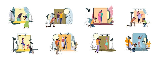 Set of photographers taking photos and shooting people in studio Free Vector