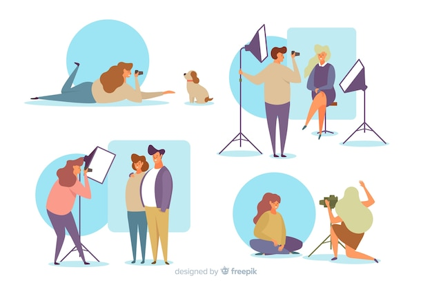 Set of photographers and their models Free Vector