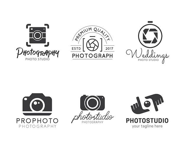 Set of photography logos Premium Vector