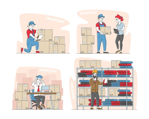 Set physical inventory count management Premium Vector