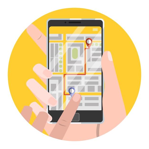 Укажите место получения в приложении для заказа такси. заказ авто онлайн в смартфоне. баннер с желтым экраном на телефоне. иллюстрация Premium векторы