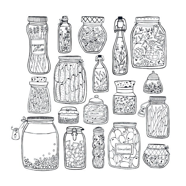 Set of pickled jars with vegetables, fruits, herbs and berries on shelves. autumn marinated food. contour illustration. Premium Vector