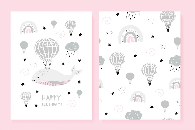 Set of a picture and a pattern with a cute whale Premium Vector