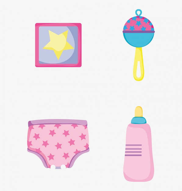 Установить картину с детской погремушкой и бутылочкой для кормления с подгузником Premium векторы