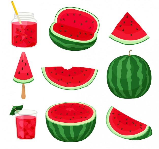 Set of pieces of watermelon different forms and products from it. Premium Vector