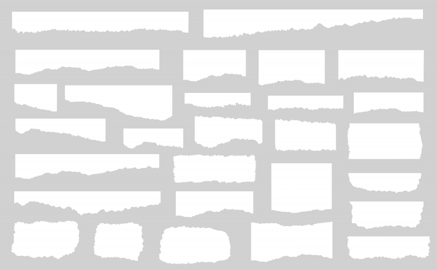 Set of pieces of white torn paper, isolated  illustration Premium Vector