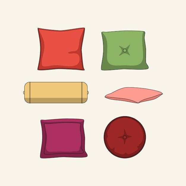 Set of pillows Premium Vector