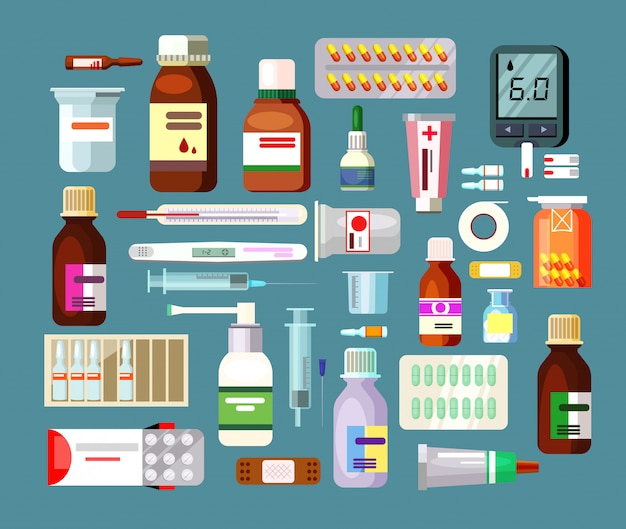 Set of pills and suspensions in bottles Free Vector