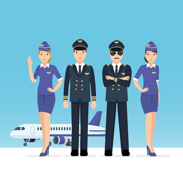 Set of pilot and airplane crew at the airport Premium Vector