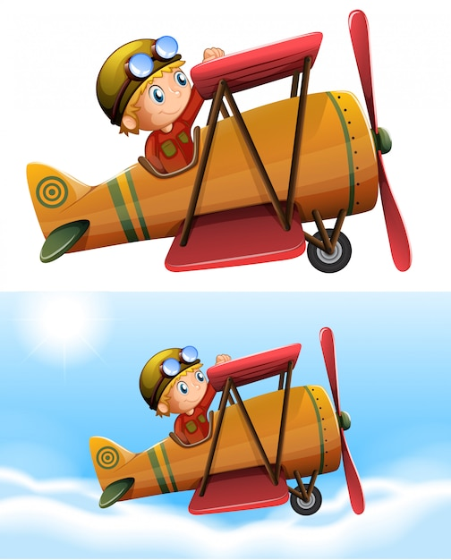 Set of pilot riding classic plane Free Vector