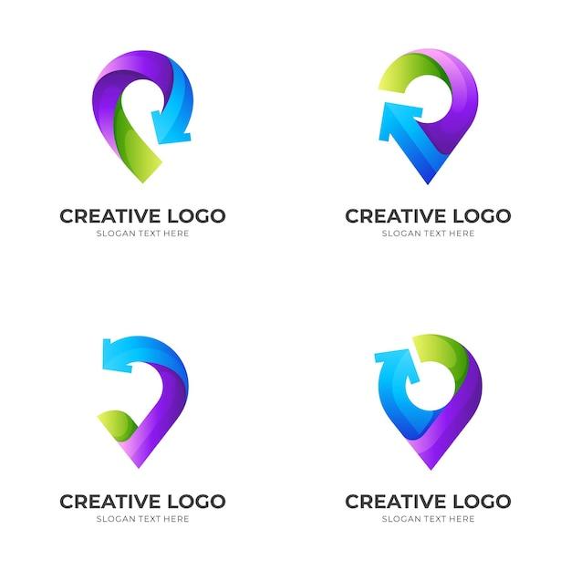 핀 화살표 로고, 핀 및 화살표, 3d 화려한 스타일의 조합 로고 설정 프리미엄 벡터
