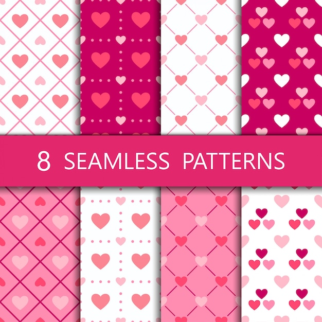 Set of pink heart seamless pattern Premium Vector