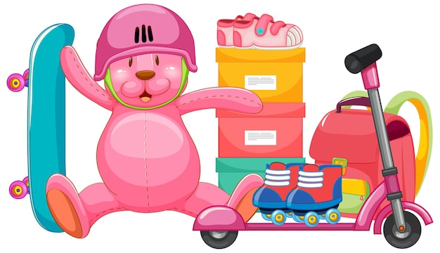 Set of pink toy in cartoon style Free Vector