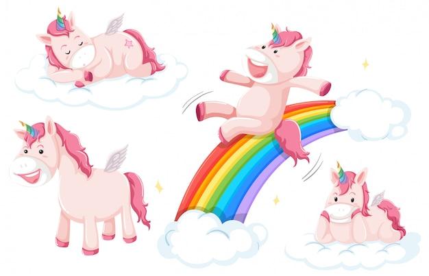 Set of pink unicorn Premium Vector