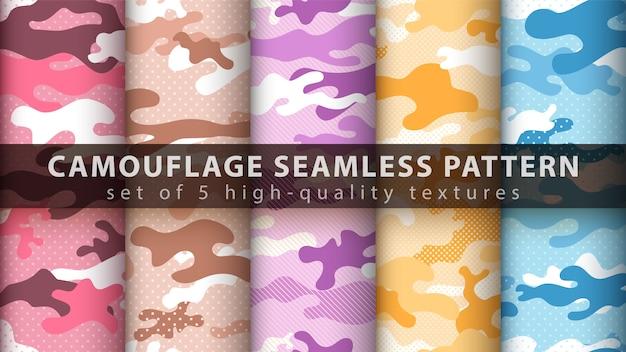 Set pixel camouflage military seamless pattern Premium Vector