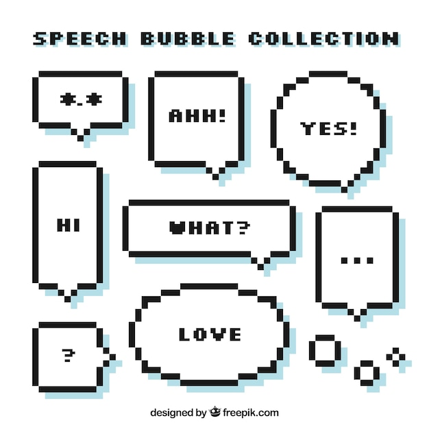 Set Of Pixelated Speech Bubbles With Messages Vector