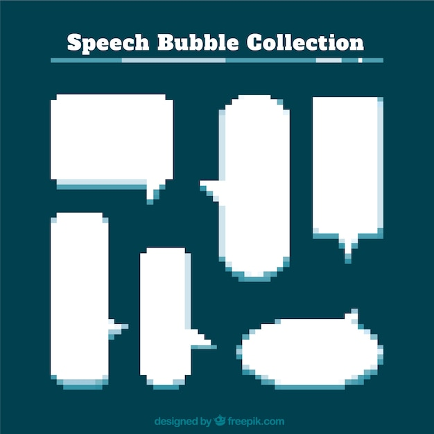 Set Of Pixelated Speech Bubbles