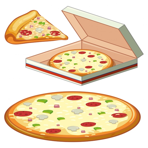 A set of pizza on white background Free Vector