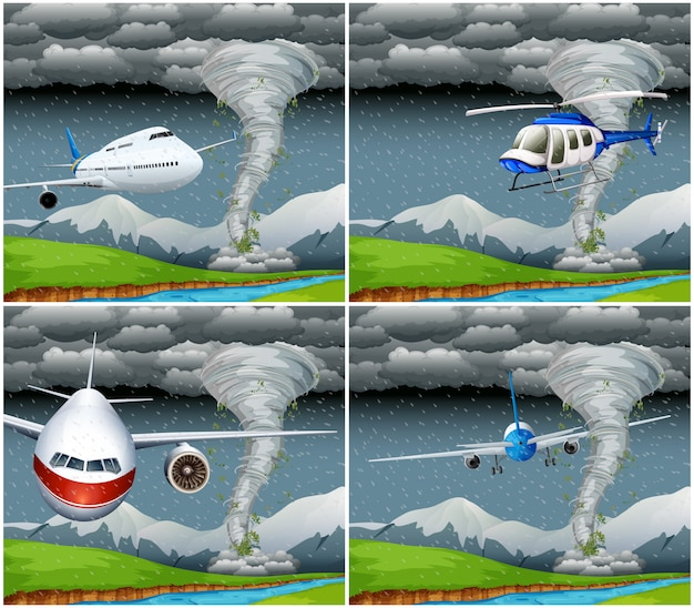 Set of plane flying in bad weather Free Vector