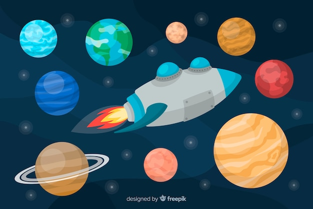 Set of planets flat style Free Vector