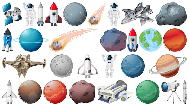Set of planets and space obejcts Free Vector