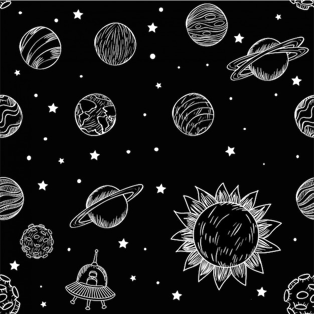 Set of planets Free Vector