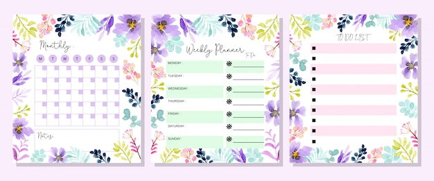 Set planner with floral watercolor Premium Vector