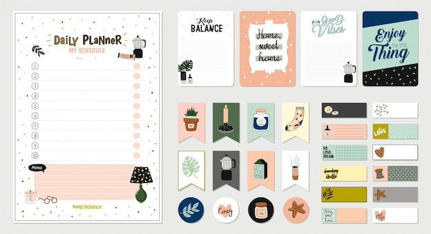 Set of planners and to fo lists with simple scandinavian illustrations and trendy lettering. template for agenda, planners, check lists, and other stationery. . . white background Premium Vector