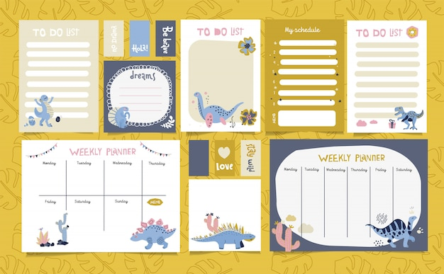 Set of planners with cute dinosaurs in scandinavian style. Premium Vector