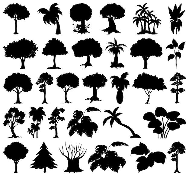 Set di silhouette di piante e alberi Vettore gratuito