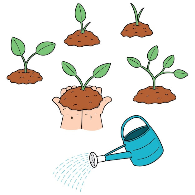Set of planting tree Premium Vector