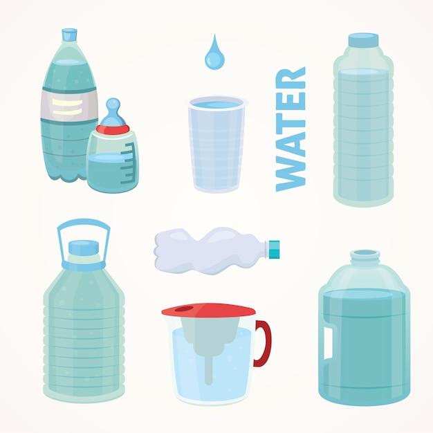 純水のペットボトルを漫画のスタイルで別のボトルイラストを設定します。 Premiumベクター