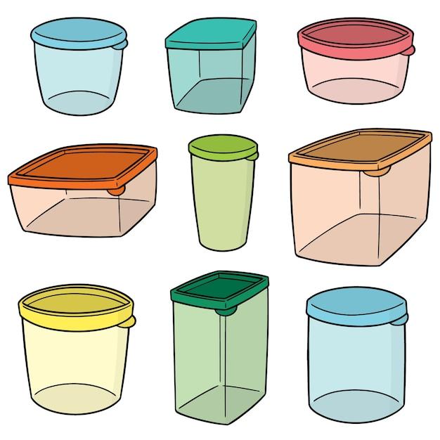 Set of plastic container Premium Vector