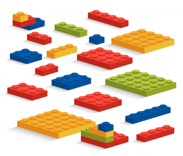 Set of plastic pieces or constructor Premium Vector