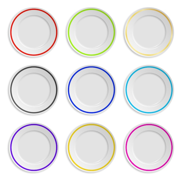 Set of plates with colored stripe isolated on white Premium Vector