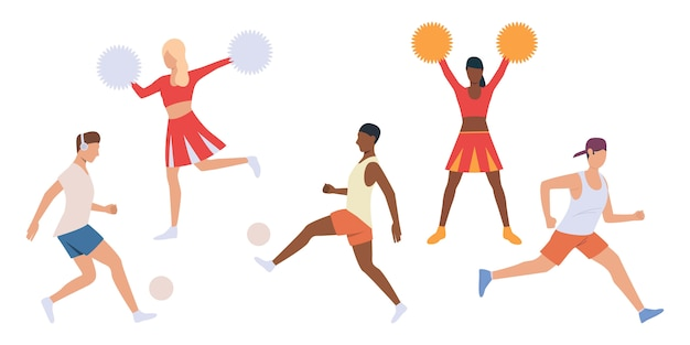 Set of players and cheerleaders Free Vector