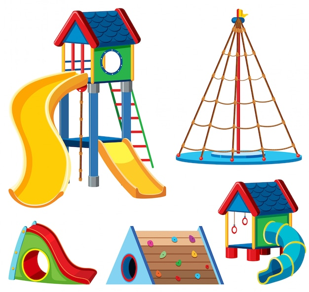 A set of playground equipment Free Vector