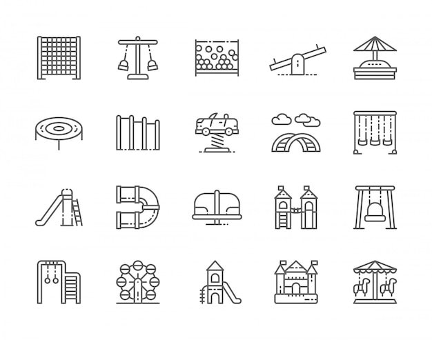 Set of playground line icons Premium Vector