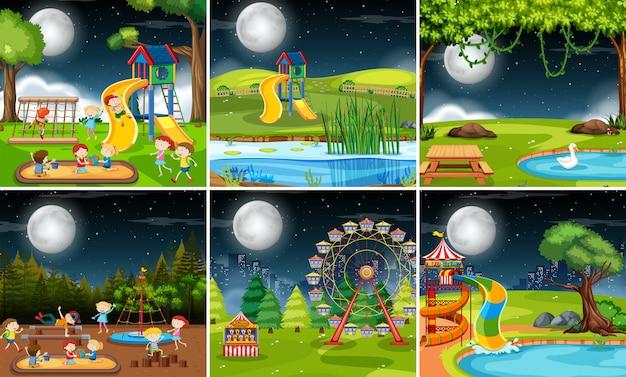 Set of playground scene at night Free Vector