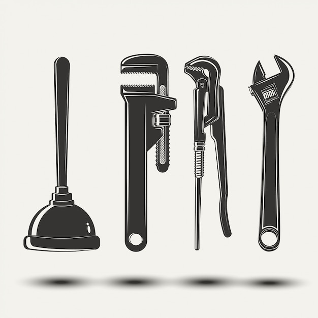 Set of plumbers equipment Premium Vector