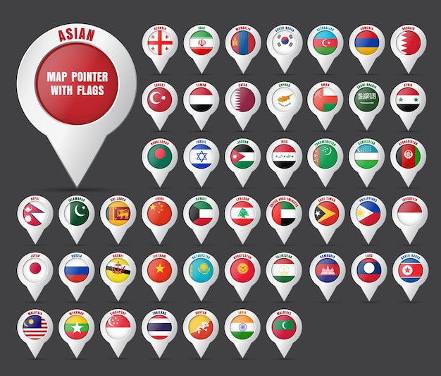 Set the pointer to the map with the flag of the countries of asian and their names. Premium Vector