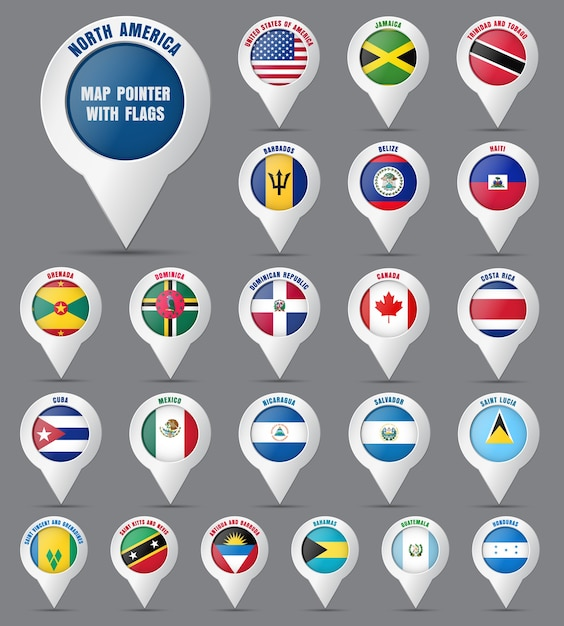 Set the pointer to the map with the flag of the countries of north america and their names. Premium Vector