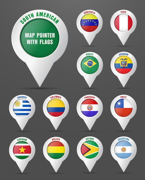 Set the pointer to the map with the flag of south american countries, and their names. Premium Vector