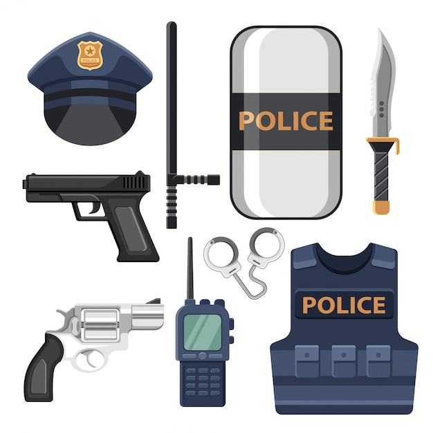 Set of police equipment icons and elements Premium Vector