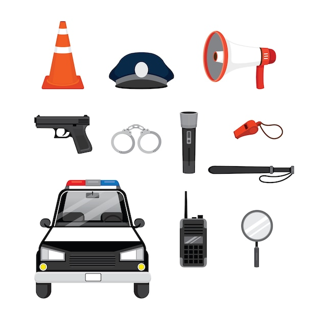 Set of police objects and equipments Premium Vector