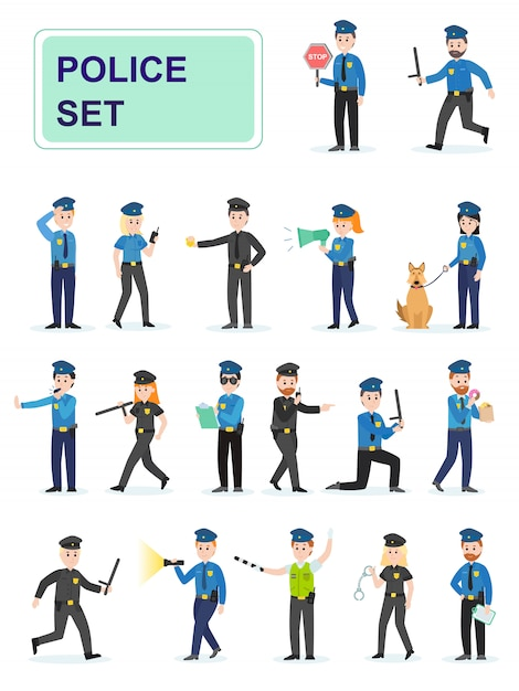Set of police officers doing their job. Premium Vector