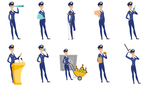 Set of police woman characters. Premium Vector