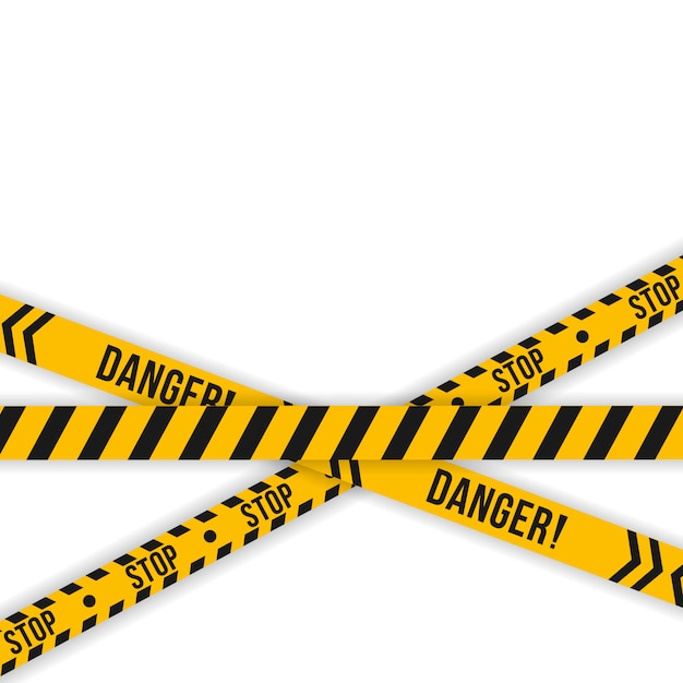 Set of police yellow and black tape. diagonal stripes security. safety danger ribbon signs. warn caution symbol. under construction, do not cross, police line, warning. Premium Vector