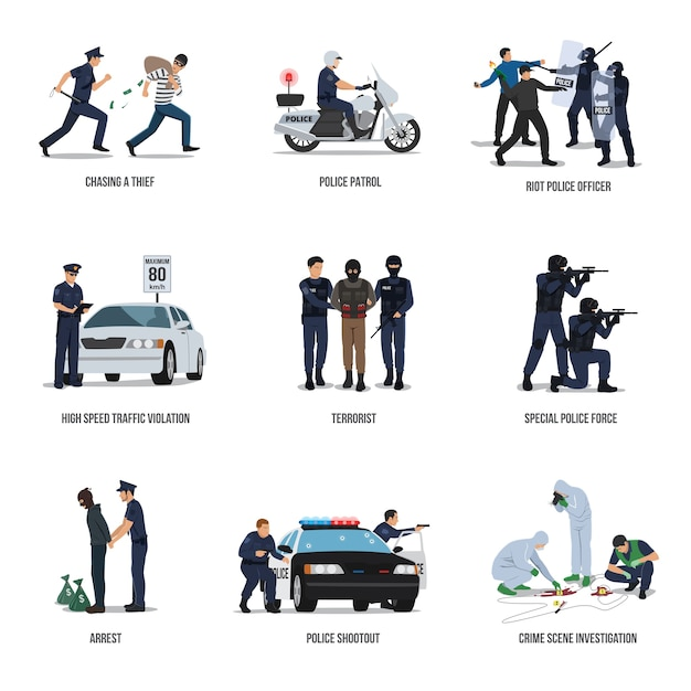 Set of policeman. policeman at work concept Premium Vector