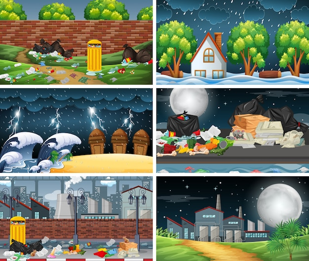 Set of polluted scenes or background Free Vector